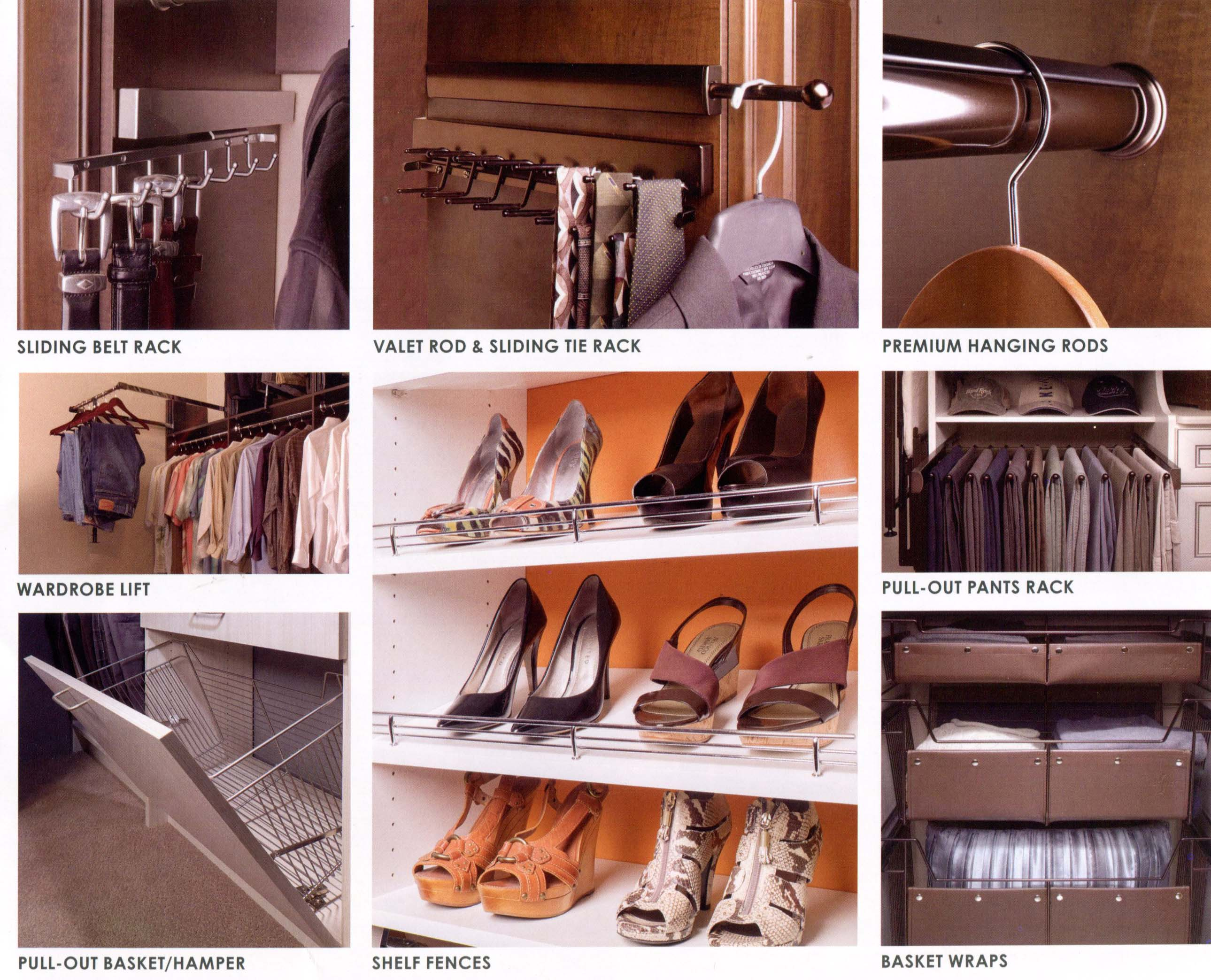 Sliding Belt Rack - Sliding Valet and Sliding Tie Rack - Premium Hanging Rods - Wardrobe Lift - Pull-Out Pants Rack - Pull-Out Basket Hamper - Shelf Fences - Basket Wraps