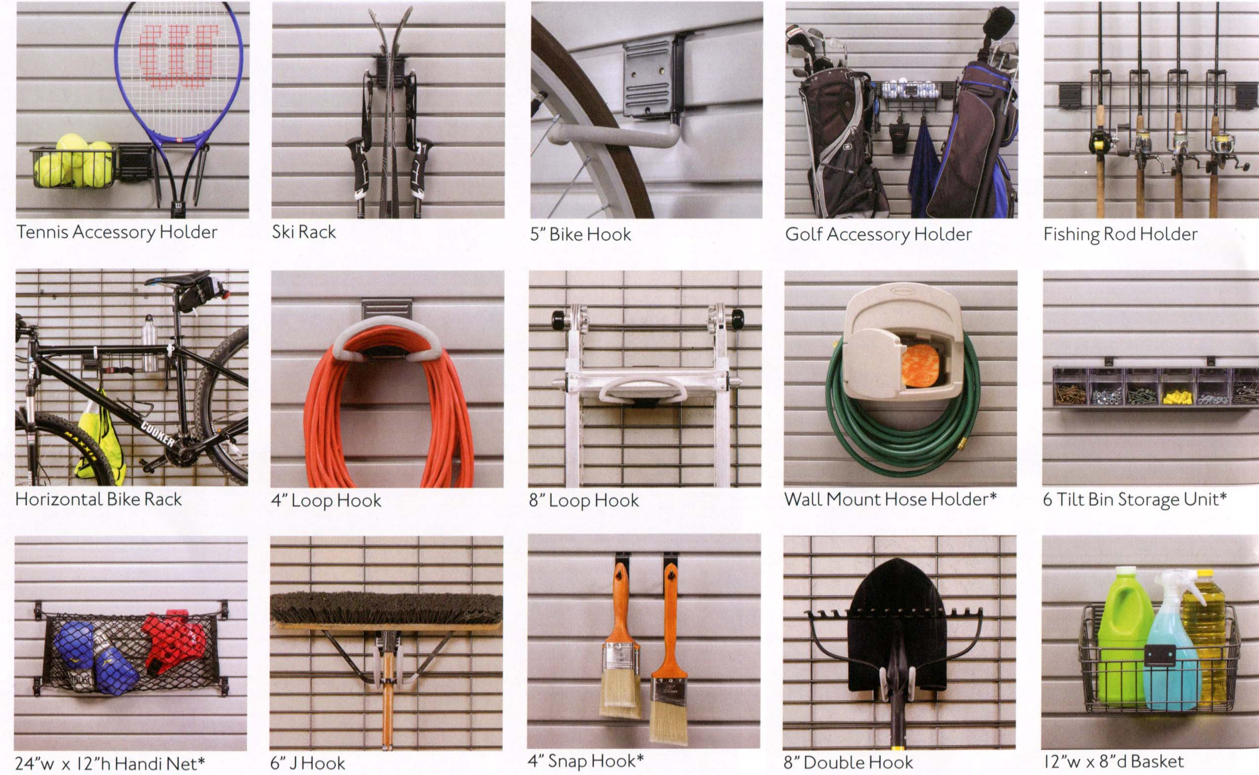 Tennis Accessory Holder - Ski Rack - Bike Hook - Bike Accessory Holder - Fishing Rod Holder - Horizontal Bike Rack - Loop Hook - Wall Mount Hose Holder - Tilt Bin Storage Unit - Handy Net - J Hook - Snap Hook - Double Hook - Basket